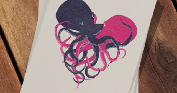 Sweet but strangely dark Valentines Day card. Octopus lovin'!
