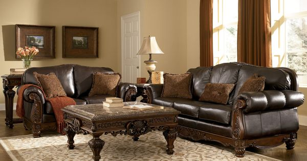 north shore living room shore all leather brown traditional sofa set 13454