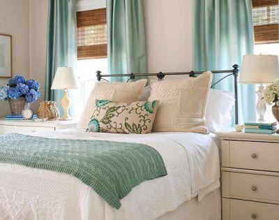 Neutral teal bedroom serene peaceful atmosphere couldn for Peaceful master bedroom designs