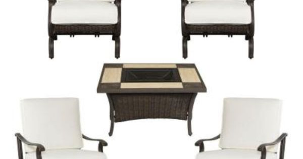 Hampton Bay Pembrey 5 Piece Patio Fire Pit Chat Set With Bare Cushion Hd14212 The Home Depot