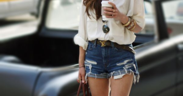 Her outfit. The cuffed high waisted denim shorts and a nice loose
