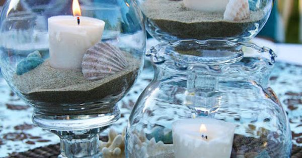Under The Sea Table Decorations The Vases With Glue Dots The Dark Brown Round Place Mats Were