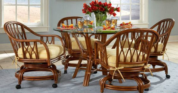 Rattan and Wicker Dining Sets   Wicker Chairs   Rattan Tables   Wicker Dining  Furniture  Charleston Dining Set with 4 Caster Swivel and Tilt Cane Chairs  . Dining Room Set With Caster Chairs. Home Design Ideas