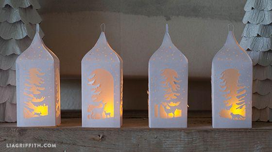 winter paper lantern template  DIY Winter Paper Lanterns | Paper lanterns, Lanterns, Paper ...