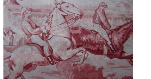 Vintage Toile Fabric Victorian Era Horse Racing By