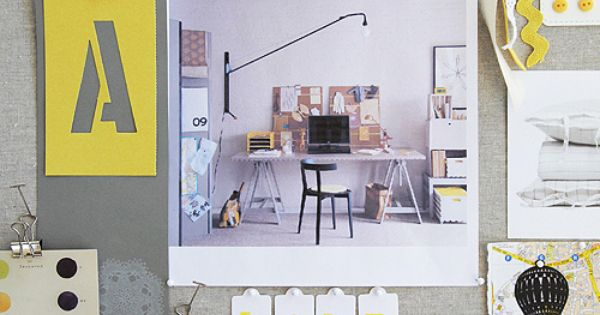 Mood board by Leslie Shewring: lemon yellow, grey, and kraft paper