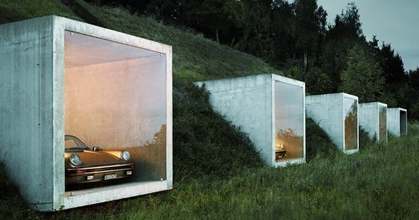 modern garage and shed by Peter Kunz Architektur {frame the car collection}ED