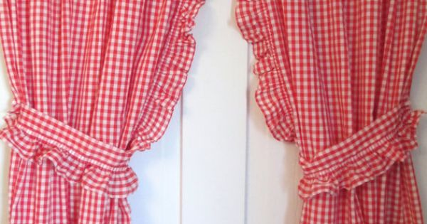 Red White Gingham Curtains 2 Panels Valance And Ruffled