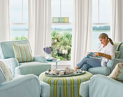 | adore this living room found at Coastal Living Magazine. Who needs