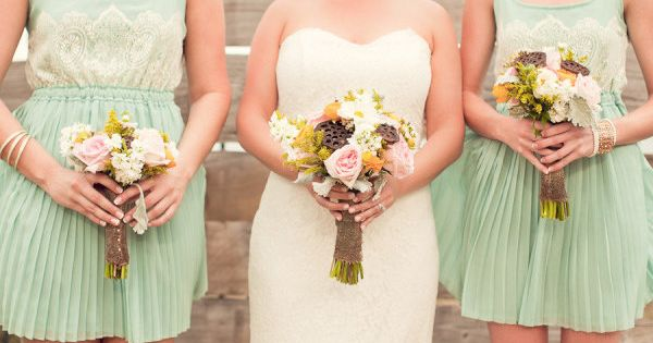 Pleated with lace mint bridesmaids dresses