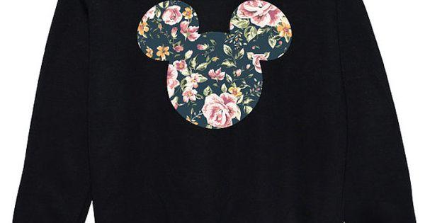 floral micky sweater pullover womens damen spa tumblr hipster beute mode grunge retro oberen. Black Bedroom Furniture Sets. Home Design Ideas