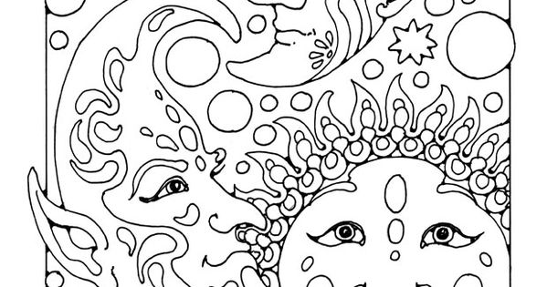 Fantasy Coloring Pages For Adults Coloring Page Sun, Moon Art At  Repinned.net