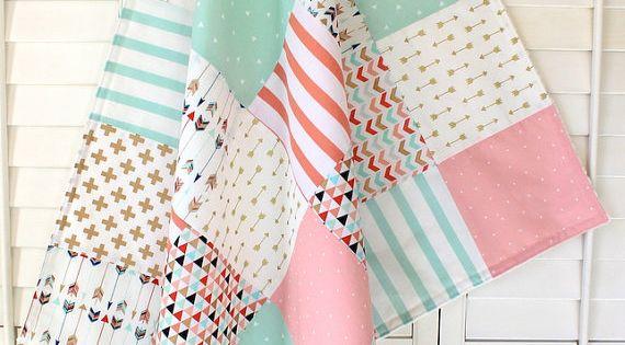 Baby Girl Blanket, Minky Blanket, Coral Crib Bedding