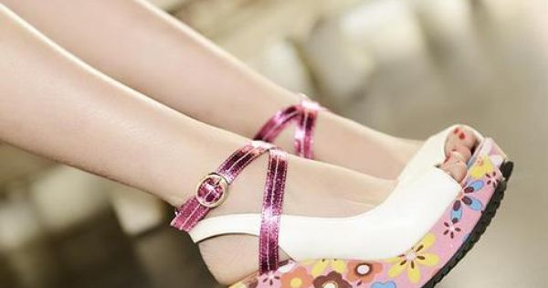 New Arrival Pastoral #Flower-Print #Peep-Toe #Wedge Heel #Sandals