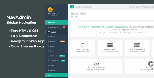 Navamdin Responsive Sidebar Navigation Codecanyon Item For Sale