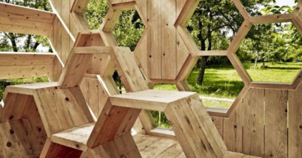 holz-pavillon «k_abeilles» in wabenform für menschen und bienen, Gartengerate ideen