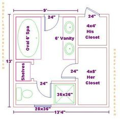 9x13 Master Bath Floor Plan With His