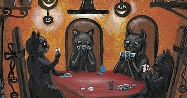 1.5x2 DOLLHOUSE PRINT OF PAINTING RYTA 1:12 SCALE HALLOWEEN BLACK CAT WITCH ART