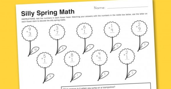 worksheets for the kiddos silly spring math decoding a secret message education. Black Bedroom Furniture Sets. Home Design Ideas