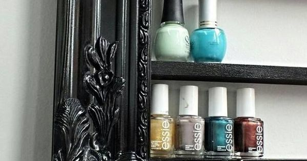 Old picture frame paint add shelves use as storage for nail varnish