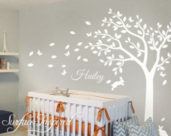 Nursery Wall Decals White Tree Wall Decal Large Tree Wall Decal