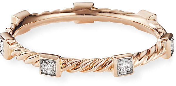 David Yurman Cable Collectibles Stacking Band Ring W Diamonds In 18k Rose Gold Size 6 In 2020 Stacking Bands Band Rings 18k Rose Gold