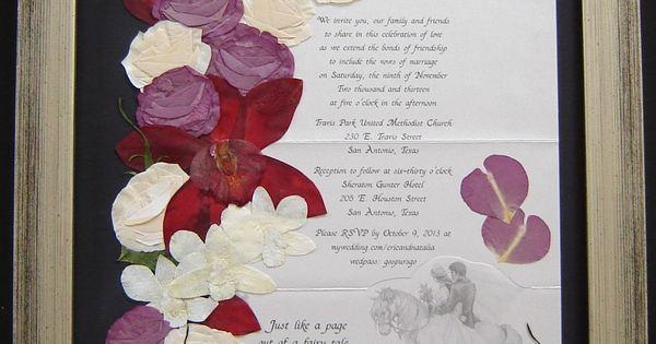 Wedding Bouquet Preserved Around Wedding Invitation Pressed Flower