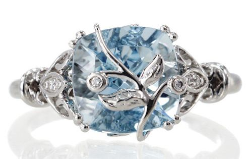 White Gold 9mm Cushion Cut Aquamarine and Diamond Vintage Leaf and Vine