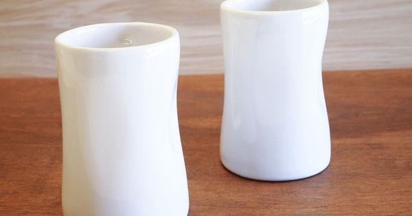 Alex Marshall Studios Tall Tumbler Set Of 2 Stoneware Clay Stoneware Candle Holders