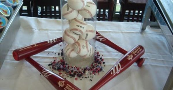 baseball centerpiece for boys birthday party