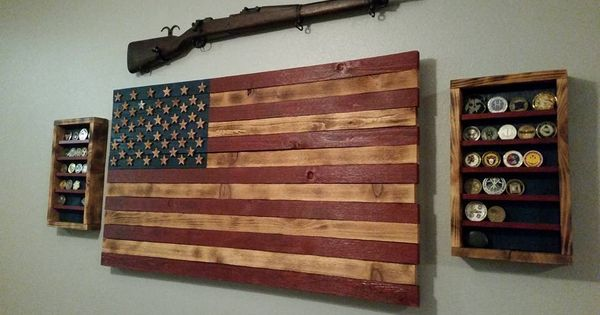 Custom flag coin display by trish coffield american flag for Homemade rack case