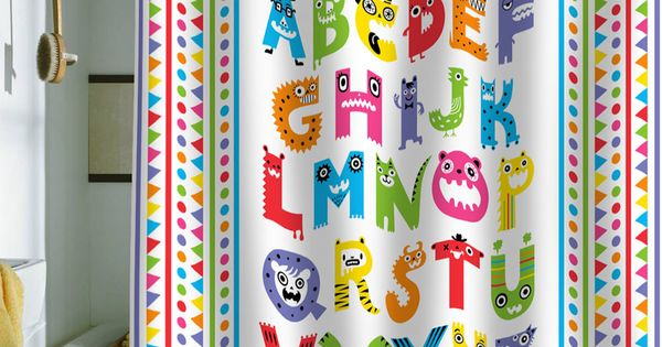 Great for kids bathroom! Andi Bird Alphabet Monsters Shower Curtain