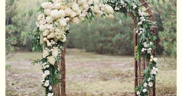 Outdoor Wedding Ceremony. Arch idea with white flowers beeandgee