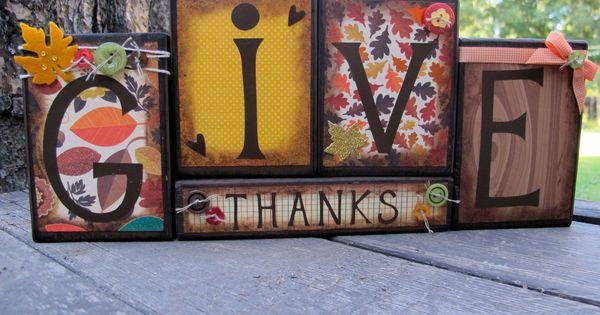 Fall Blocks, Wooden Block Set, Thanksgiving Blocks, Fall Blocks Set, Home Decor,