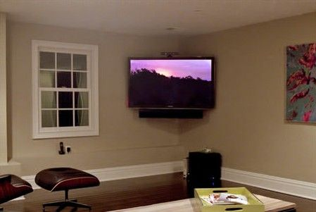 Global Custom Installation Included A Soundbar With This Corner Mounted Tv Home Theater Installation Home Theater Seating Small Home Theaters