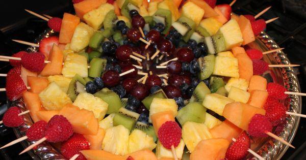 Fruit kabobs on circular platter party ideas pinterest