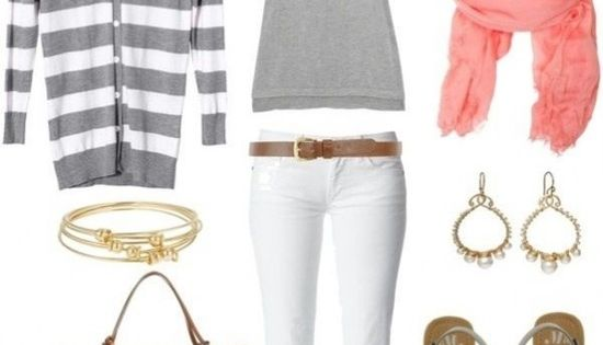 Casual Summer Outfit - White Pants - Grey Stripped Cardigan - Pop