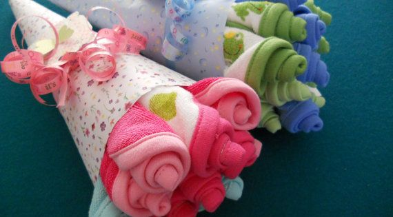 Wash Cloth New Baby Bouquet - Cute idea for a baby shower