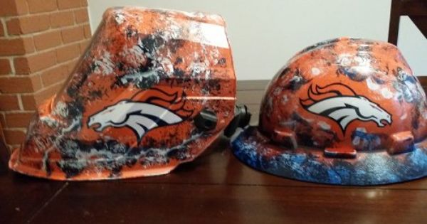 Custom Welding Helmets >> custom welding helmet Denver Broncos | Hard hats, Welding ...