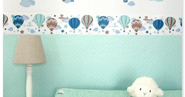 heißluftballons boys taupe/mint: selbstklebende kinderzimmer ... - Deko Taupe