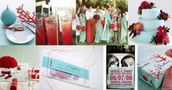 Luv this wedding color combo: Tiffany Blue and Red wedding-
