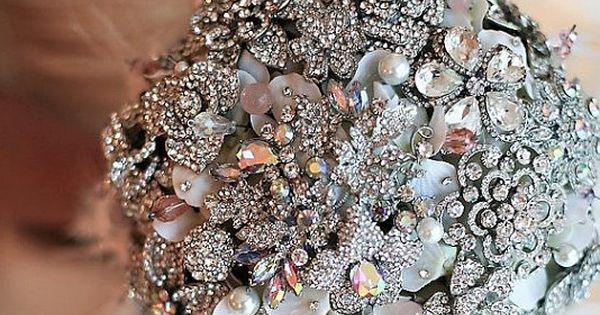 Rich rhinestone and blush pink brooch bridal bouquet