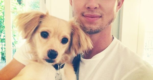 Aww!!! Drew Van Acker is sexy and his dog is adorable!