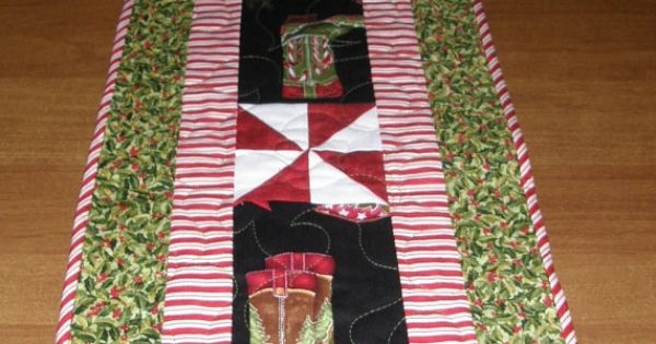 Christmas Country And Western Quilted Table Runner Cowboy
