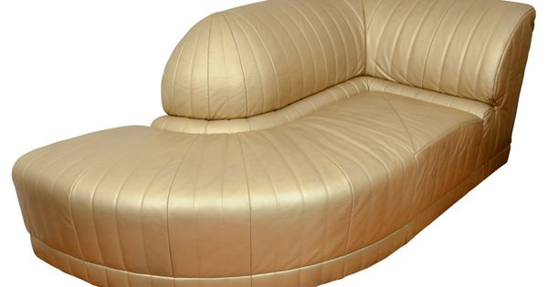 Vintage art deco gold leather corner chaise lounge from for Art deco style chaise lounge