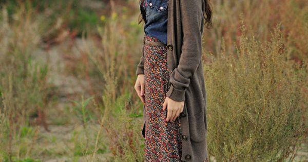 Jean top with maxi denim shirt cardigan floral maxi skirt