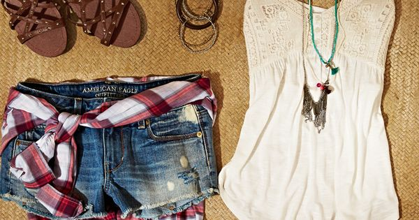 Plaid shirt + Blue jean short + White tank + Long necklace
