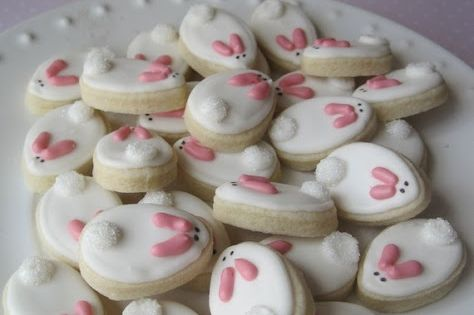 CUTE Easter Bunny Mini Cookies . We have to try these this