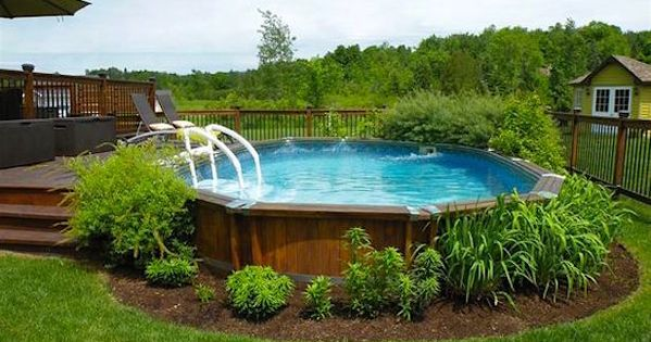 10 ways to pretty up an above ground pool gartenpool for Petite piscine en kit