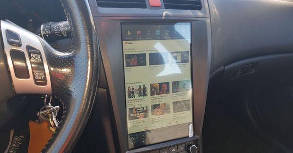 12 1 Tesla Style Android Navigation Radio For Honda Accord Email Stefan Navihua Com Wechat Whatsapp Honda Accord Car Audio Installation Custom Car Interior